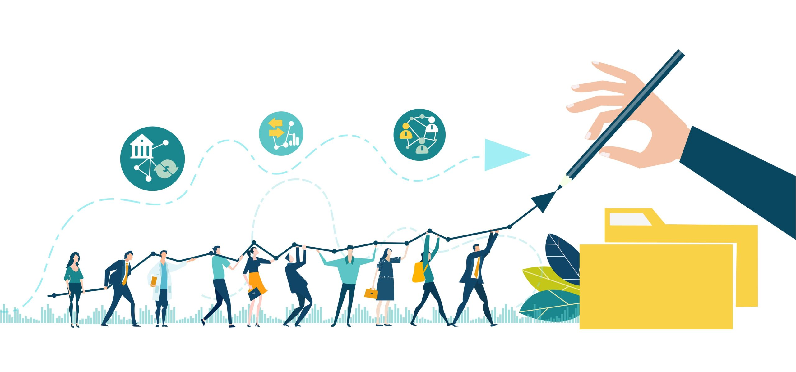 Businessman drawing the growth line, success, support and developing. Business people. team walking and holding the arrow. Business concept illustration.